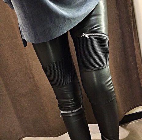 Zara spodnie skórzane skóra Moliera lateks lateksowe biker jeansy