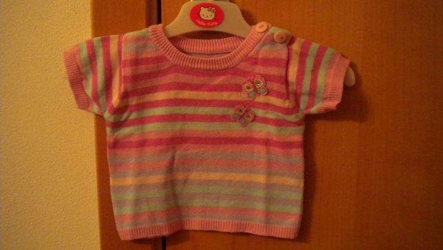 T-shirt riscas rosa menina