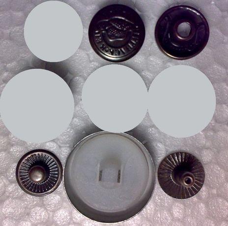 Кнопки одёжные альфа 12 мм черные с тиснением, пуговицы обтяжные 20 мм