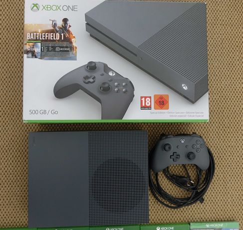 Consola Xbox one S Gray Ed Especial c/ nova c/ cx + 10 Jogos Microsoft