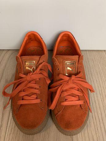 Buty Puma Suede Platform pomarańczowe