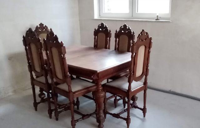 Eklektyczny komplet: stół dębowy rozkładany i 6 krzeseł (antyk)