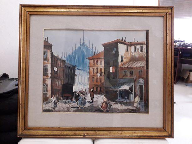 Картина маслом на холсте Италия собор. Большая, в раме 84*72 см.