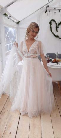Suknia ślubna oryginalna beżowa biała jak papilio
