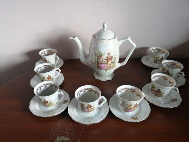 Serwis do kawy herbaty Karolina Miłość Wiedeńska opalizujący kolor