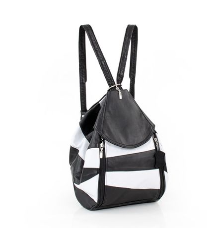 Plecak skórzany w paski biało-czarne
