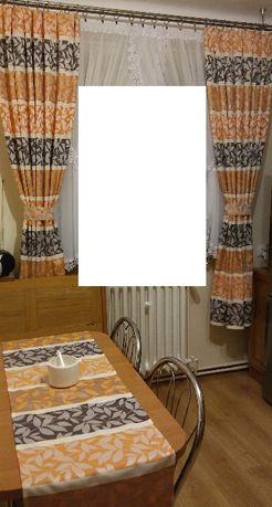 Zasłony listki z brokatem pomarańcz-krem-brąz+ bieżnik na stół +GRATIS