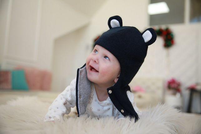 Шапка шлем зимняя для новорождённого на кнопках очень тёплая