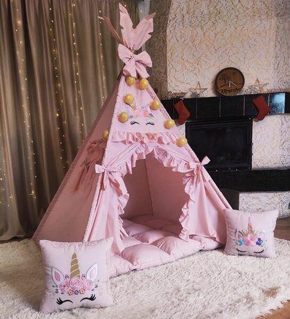 Вигвам палатка для девочки  Единорожки на пудровом цвете БОН БОН