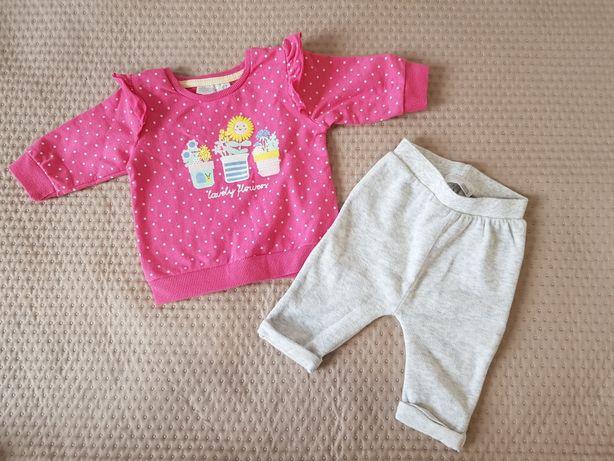 Zestaw jesienny zimowy dla dziewczynki bluza i spodnie 62