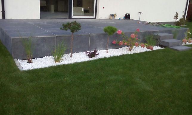 Zakładanie ogrodów, trawa z rolki, tarasy drewniane, wertykulacja,tuje