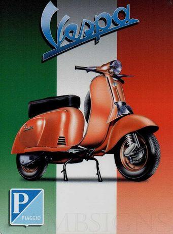 6 Placas decorativas retro das motos VESPA, novas, 30 x 20 cm