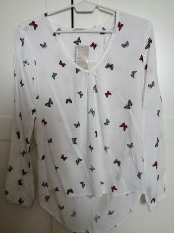 Biała koszula damska w motyle