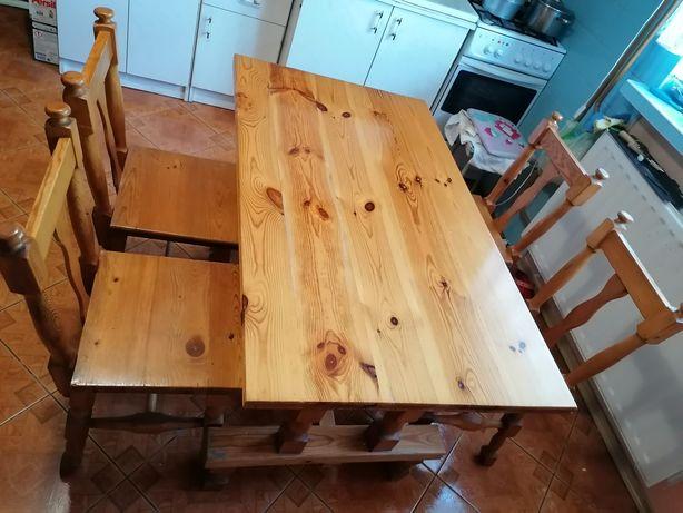 Stół z krzesłami dębowy