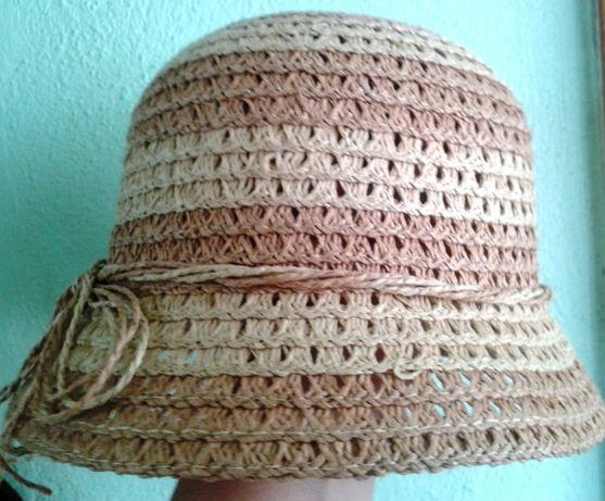 kapelusz słomkowy beżowy z kokardą ok. 55 nowy