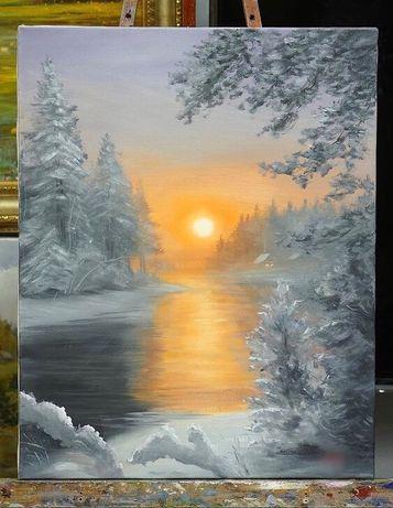 Картина маслом «Зимний лес»