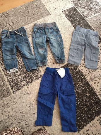 Spodnie r.80 joggery, jeansowe materiałowe