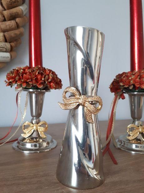 Srebrny komplet: wazon + 2x świecznik