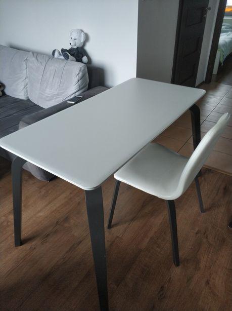 Stolik - biurko biało szary + krzesło komplet