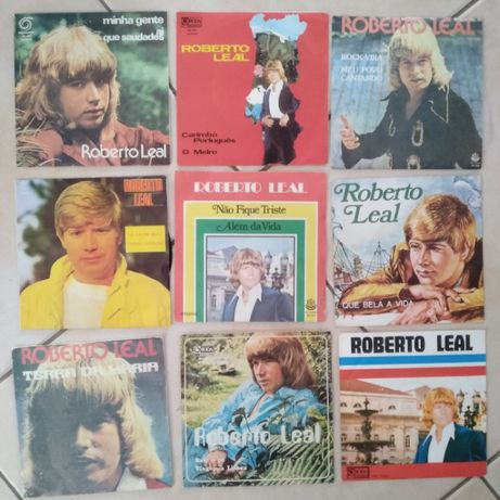 Lote de singles em vinil do cantor Roberto Leal