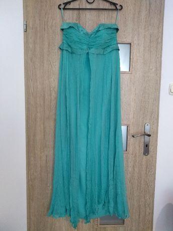 Suknia długa zielony L odcinana pod biustem sukienka np ciążowa ślub