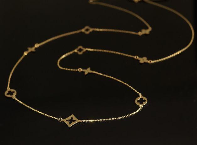 Złoto 585 - złoty łańcuszek Celebrytka damski z koniczynkami