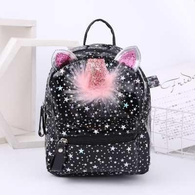 Рюкзак для девочек черный с ушками