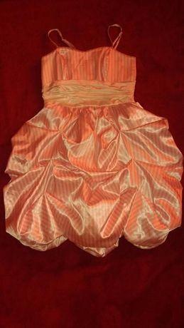 Sukienka, Bombka,w paski biało-różowa r 38 wesele - zabawa