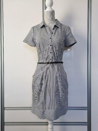 Sukienka w paski, biało granatowa, Monnari roz. 36