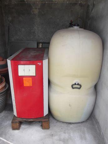 Caldeira a gasóleo,  deposito, comando e retransmissor