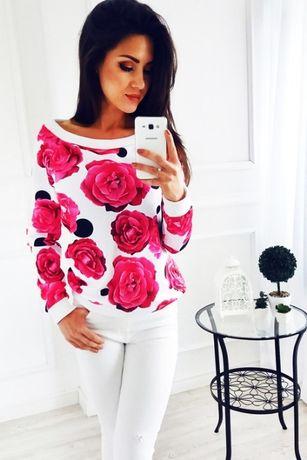 Bluza w różowe róże
