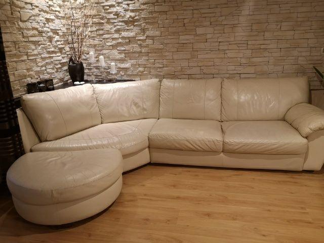Kremowa kanapa skórzana Sztum - image 1