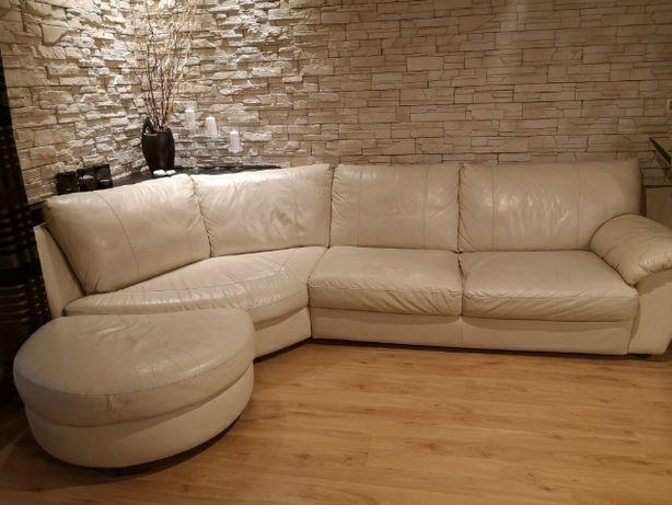 Kremowa kanapa skórzana
