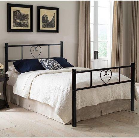 OUTLET - łóżko metalowe czarne stylowe młodzieżowe solidne stelaż