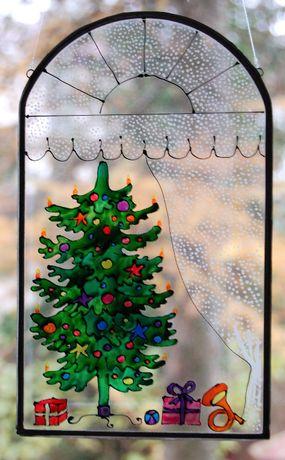 Choinka, okno, malowany witraż, malarstwo na szkle