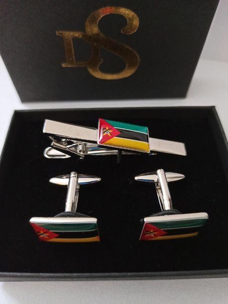 Botões de Punho e Clipe de Gravata em Bandeira Nacional