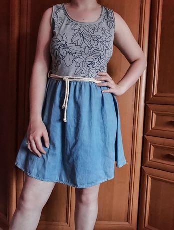 Nowa sukienka na lato kwiaty jeans szara r 38-42