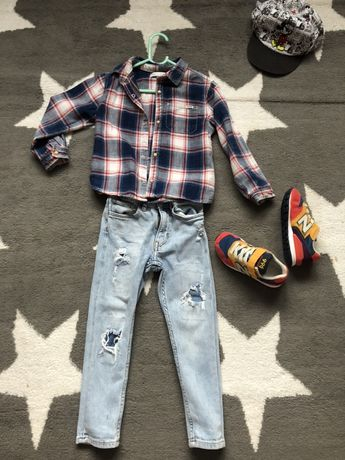 Zara koszula krata 110cm legi
