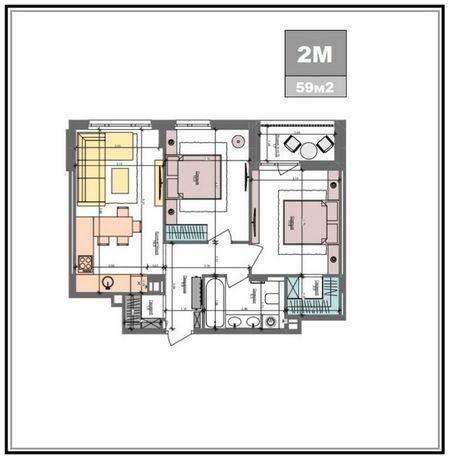 БЕЗ % , 2К квартира , ЖК Файна Таун , Салютная 2 , 59м2. Видовая.