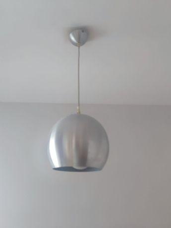 Żyrandol lampa wisząca oświetlenie kula srebrna szczotkowana stal