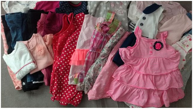Paka zestaw dla dziewczynki wiosna lato 80 9-12 Zara Next H&M F&F