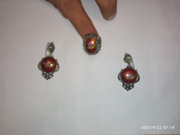 Винтажный набор ,серьожки и кольцо,мельхиор.