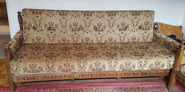 Kanapa,sofa z fotelami i podnóżki