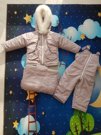 Зимний комбинезон- конвер ( куртка+штаны+рукавички на шнурке +конверт)