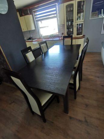 Stół do jadalni 160/200x90 z 6 krzesłami Basia wenge