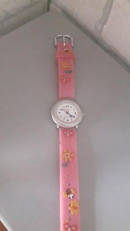 Różowy zegarek Ennio Santini dla dziewczynki z ciekawym motywem