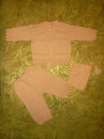 Новый вязанный костюмчик тройка на 3-6 мес ручная работа для девочки