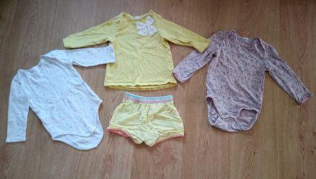 Ubranka paka dla dziewczynki 86 body bluzka h&m