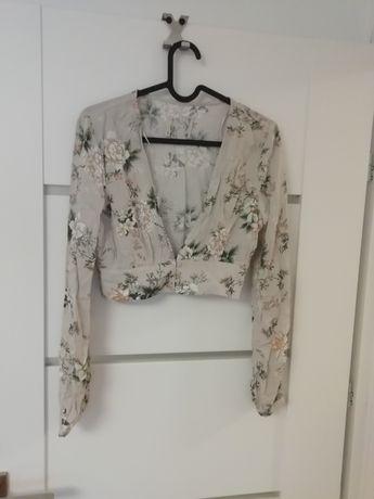 Crop top bluzka Bershka kwiaty