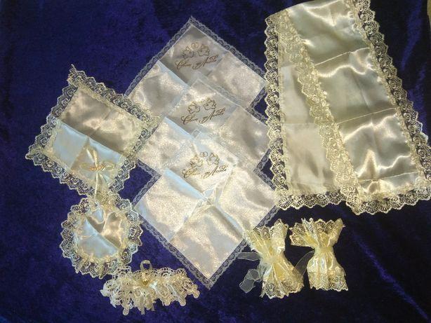 Свадебный набор на венчание, платочек, подвязка. Новый